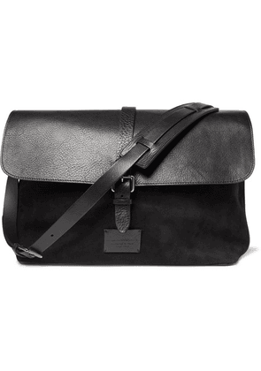 Anderson's - Suede And Leather Messenger Bag - Black