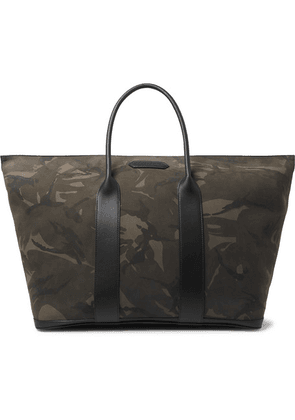 TOM FORD - Leather-trimmed Camouflage-print Nubuck Tote Bag - Black
