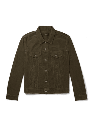 Alanui - Slim-fit Intarsia Cashmere-panelled Cotton-corduroy Jacket - Green