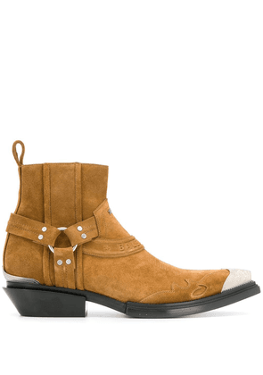Balenciaga Santiag harness booties - Brown