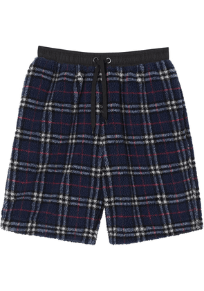 Burberry Vintage Check Faux Shearling Drawcord Shorts - Blue