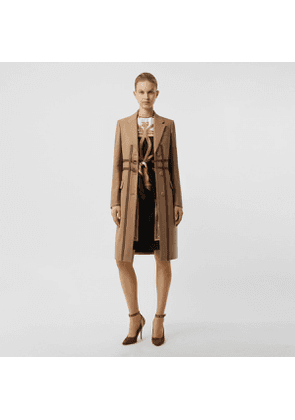 Burberry Leather Harness Detail Wool Tailored Coat, Size: 02, Brown