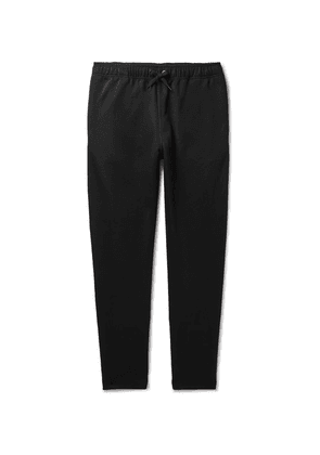 Burberry - Tapered Logo-embroidered Webbing-trimmed Tech-jersey Track Pants - Black