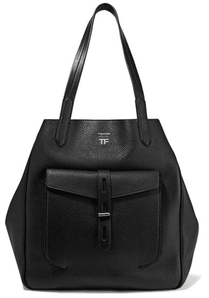 TOM FORD - T Medium Textured-leather Tote - Black