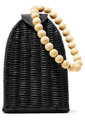 Ulla Johnson - Raya Leather-trimmed Rattan Clutch - Black