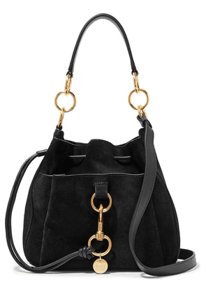 See By Chloé - Tony Suede And Textured-leather Bucket Bag - Black