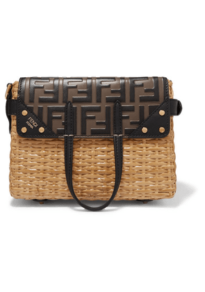 Fendi - Flip Mini Embossed Leather And Glossed-rattan Tote - Black
