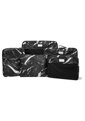 CALPAK - Set Of 5 Marbled Canvas And Mesh Packing Cubes - Black
