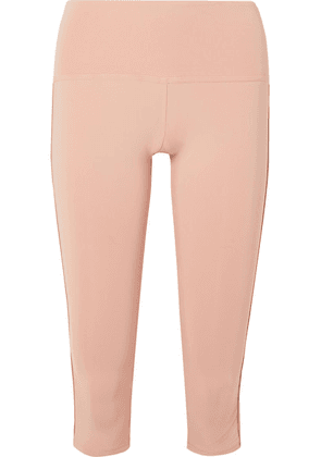 Olympia Activewear - Titus Cropped Striped Stretch Leggings - Blush