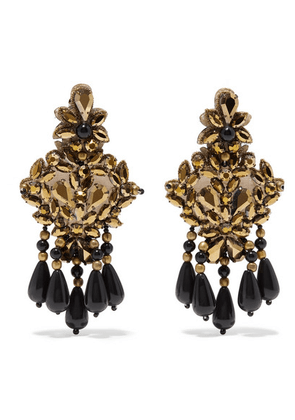Etro - Gold-tone, Felt, Crystal And Bead Clip Earrings - one size
