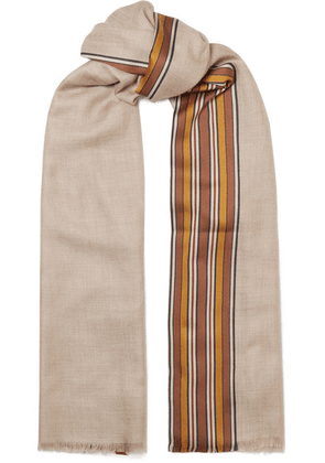 Loro Piana - The Suitcase Striped Silk And Cashmere-blend Scarf - Camel
