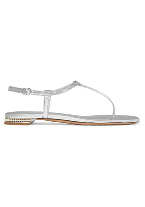 Nicholas Kirkwood - Casati Faux Pearl-embellished Mirrored-leather Sandals - Silver