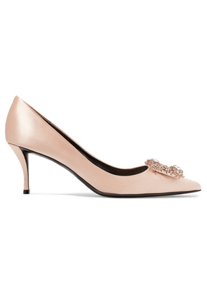 Roger Vivier - Flower Crystal-embellished Satin Pumps - Antique rose