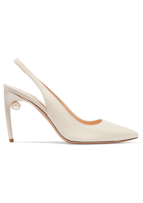 Nicholas Kirkwood - Mia Faux Pearl-embellished Leather Slingback Pumps - Off-white