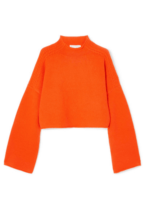 JW Anderson - Oversized Cropped Cable-knit Wool And Cashmere-blend Sweater - Orange