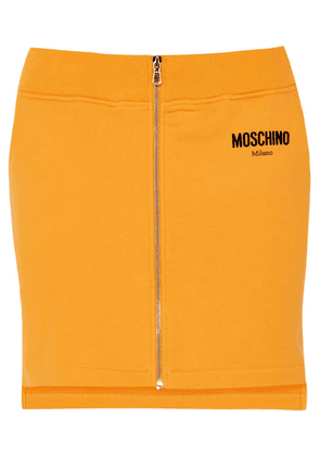 Moschino - Flocked Cotton-jersey Mini Skirt - Yellow