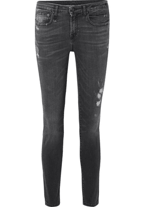 R13 - Alison Distressed Mid-rise Skinny Jeans - Charcoal