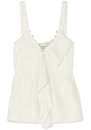 3.1 Phillip Lim - Faux Pearl-embellished Ruffled Crepe Camisole - Off-white