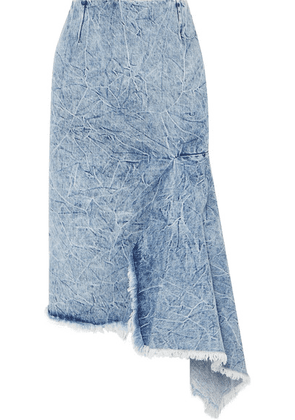 Balenciaga - Asymmetric Frayed Denim Skirt - Blue
