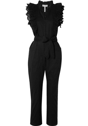 APIECE APART - Limon Ruffled Broderie Anglaise-trimmed Cotton-voile Jumpsuit - Black