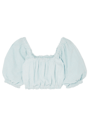 APIECE APART - Francisca Cropped Striped Organic Cotton-voile Top - Sky blue