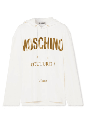 Moschino - Printed Cotton-blend Jersey Hoodie - White