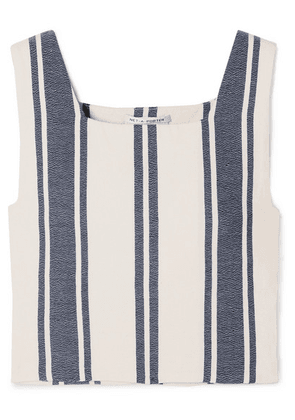 Lucy Folk - Castellations Cropped Striped Cotton-blend Top - White