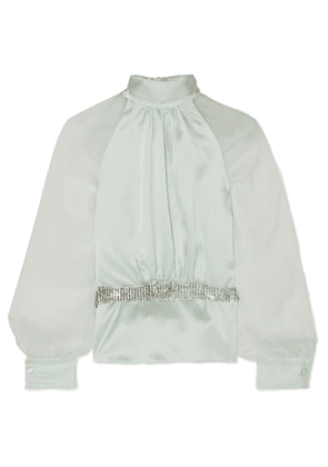 HARMUR - Open-back Belted Silk-satin And Crepon Blouse - Mint