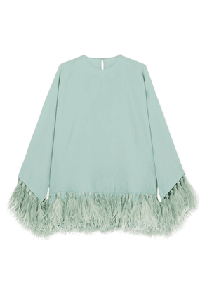 Valentino - Feather-trimmed Silk-crepe Blouse - Light green