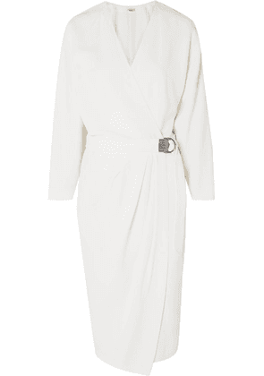 Brunello Cucinelli - Beaded Belted Crepe Wrap Dress - White