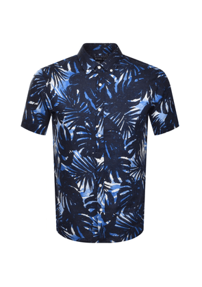 Michael Kors Short Sleeved Palm Tree Shirt Navy