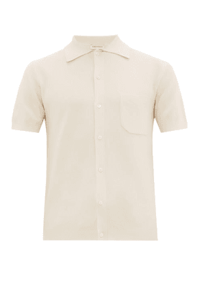 Odyssee - Button Front Cotton Polo Shirt - Mens - Cream
