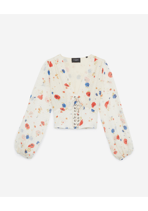The Kooples - printed silk top with lace-up belt - multicolor