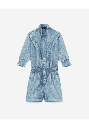 The Kooples - frilly blue cotton playsuit - blux