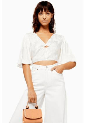 Womens Jacquard Flute Sleeve Crop Blouse - Ivory, Ivory
