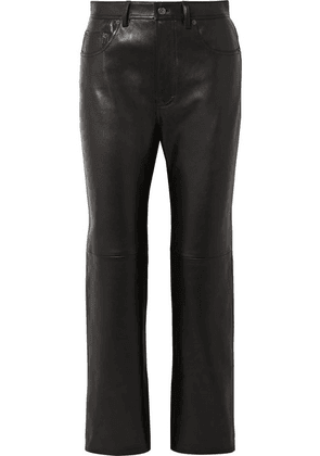 Acne Studios - Lacy Cropped Leather Straight-leg Pants - Black