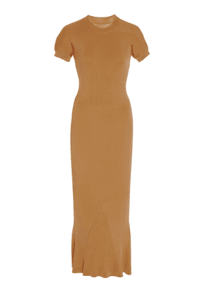 Brandon Maxwell Fitted Ribbed Midi Dress