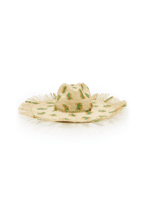 Sensi Studio Exclusive Frayed Leopard-Print Straw Panama Hat