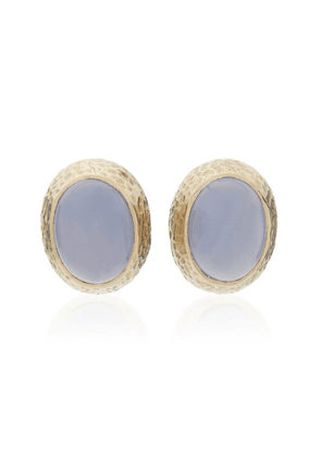 Sorab & Roshi Hammered 18K Gold and Chalcedony Earrings
