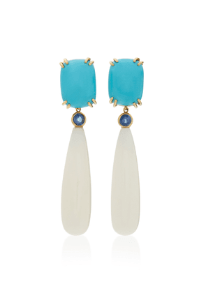 Sorab & Roshi 18K Gold Turquoise Sapphire and Coral Earrings