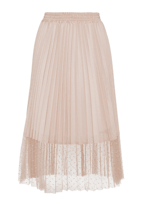 Red Valentino Jersey Lace Pleated Skirt