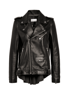 Red Valentino Pleated Leather Biker Jacket