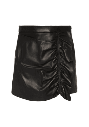 Red Valentino Ruched Leather Mini Skort