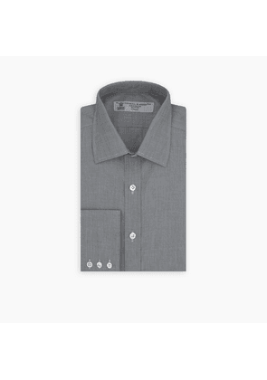 Dark Grey End-on-End Shirt with T & A Collar and 3-Button Cuffs