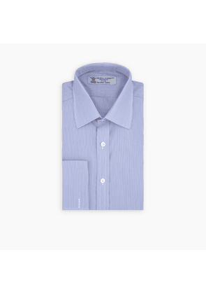Blue and White Fine Stripe Sea Island Quality Cotton Shirt with.