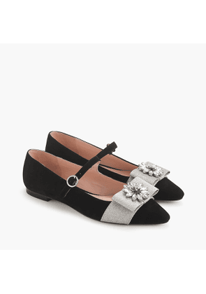 Pointed-toe Mary Jane flats with embellished bow in velvet