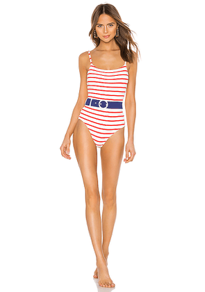 Solid & Striped Nina Belted One Piece in White. Size M,S,XS.
