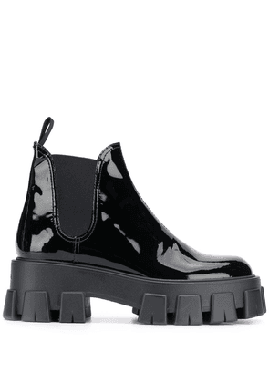 Prada shiny leather slip-on boots - Black