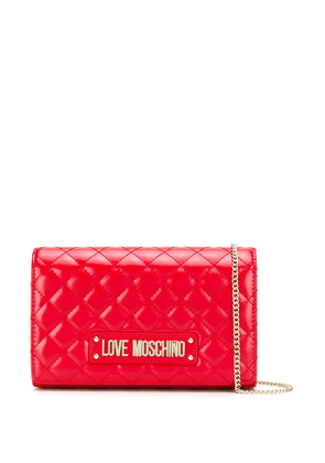 Love Moschino quilted logo shoulder bag - Red