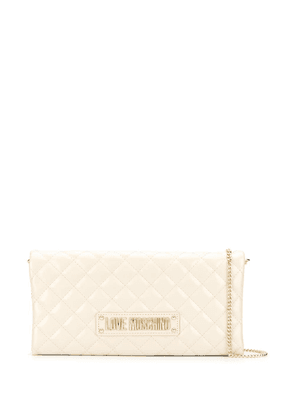 Love Moschino quilted logo crossbody bag - Neutrals